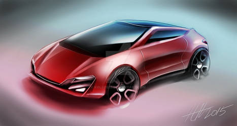 Red city car concept