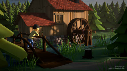 Water mill at sunrise (LowPoly)