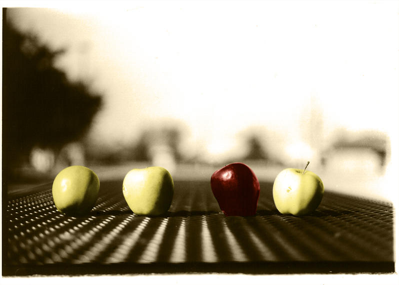 apples on park table by mikepav