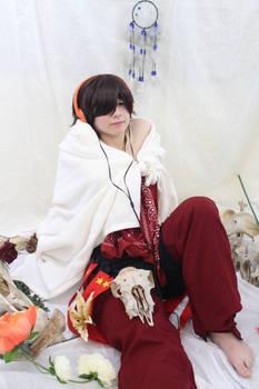 Yoh Asakura, sitting amongst the spirits