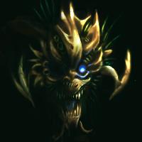 floating gold monster head by Soreiya
