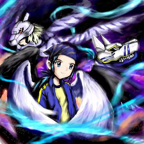 Kouji angel and Digimon by Soreiya