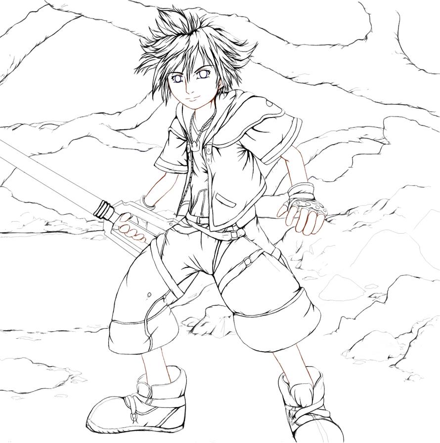 Line Art Editor : Sora line art with bg edit by soreiya on deviantart
