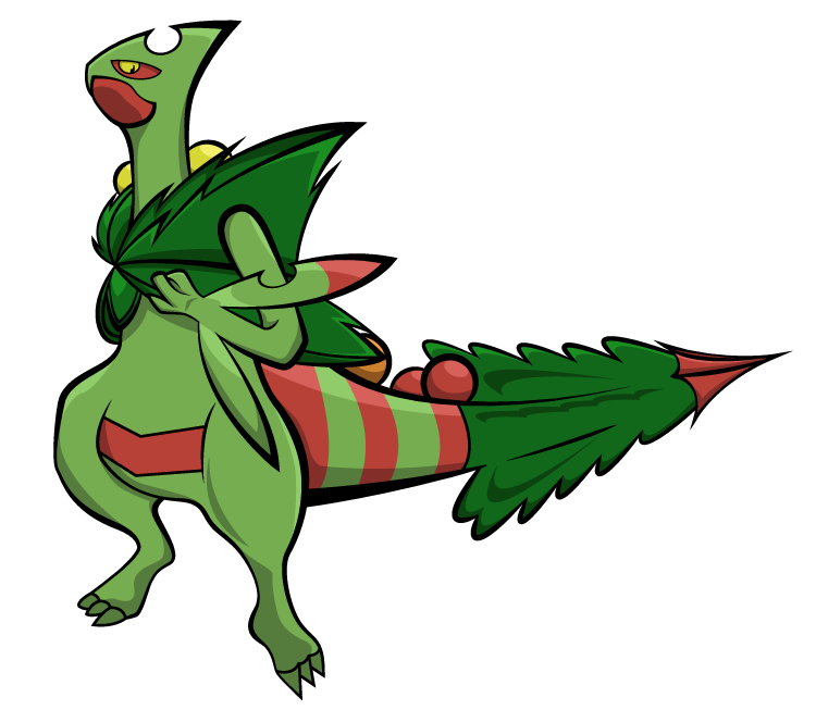 how to draw christmas sceptile