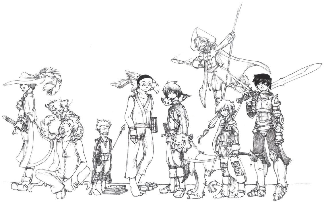 Line Art Group : Updated dnd group line art by desi designs on deviantart