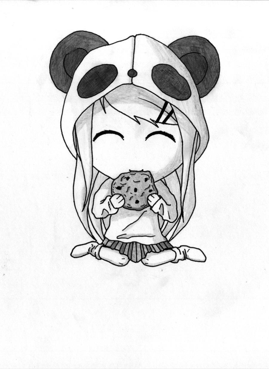 Chibi Panda with Cookie x] by gene24manga