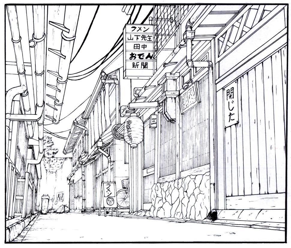 Alley manga background by gene24manga on deviantart for Line drawing wallpaper