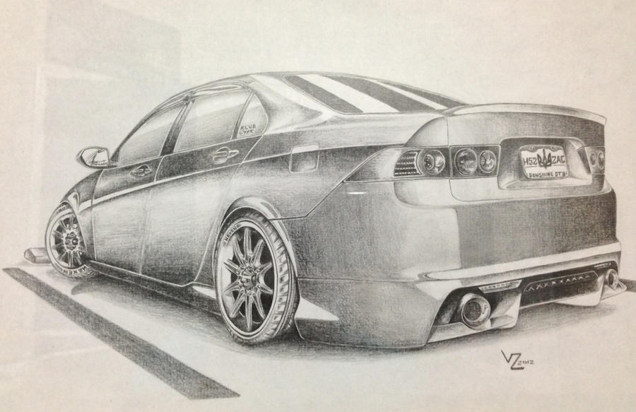 Stanced Acura TSX Drawing By VTahLick