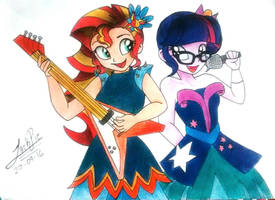 Sunset Shimmer and Twilight Sparkle [LoE] by Jack-Pie