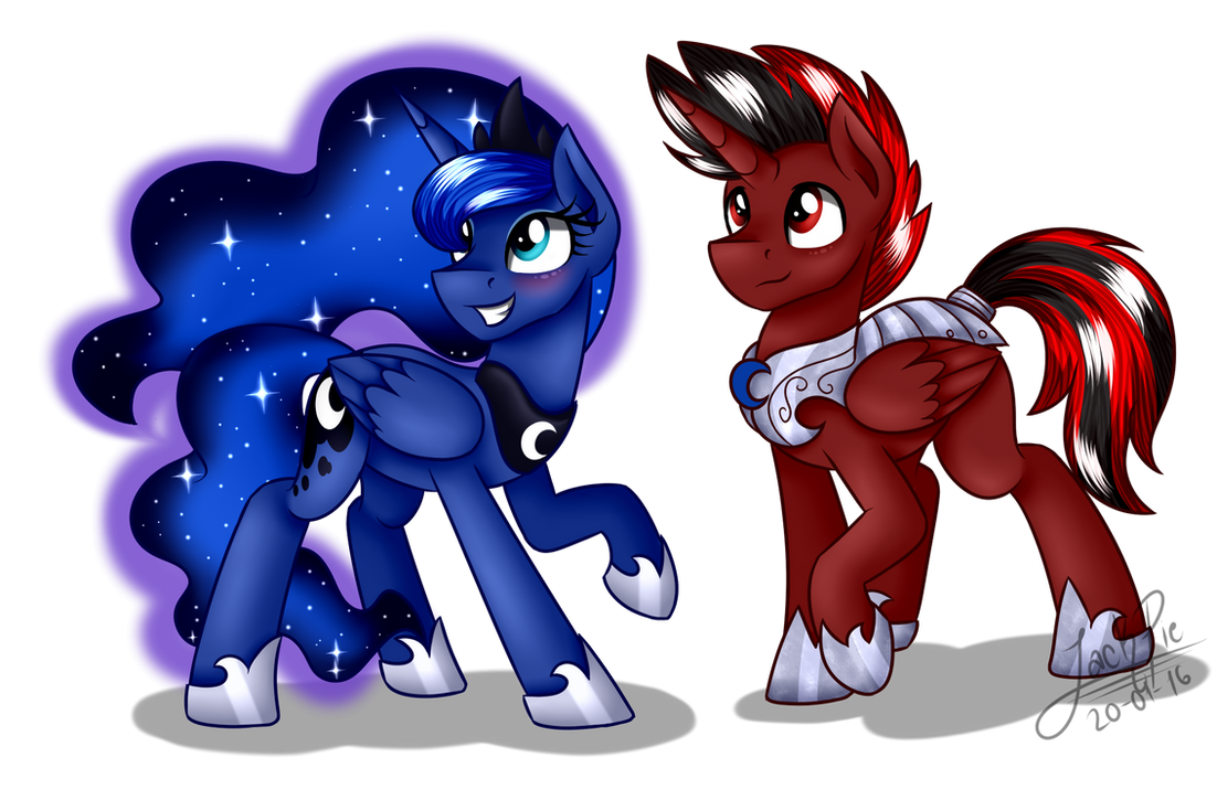 Fowac and Princess Luna [Commission] by Jack-Pie