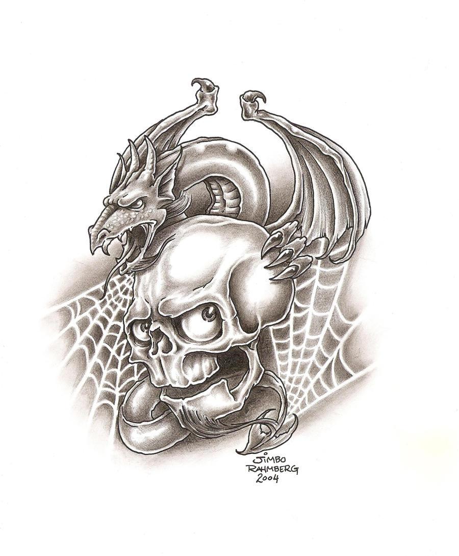 Dragon and Skull Tattoo Drawings