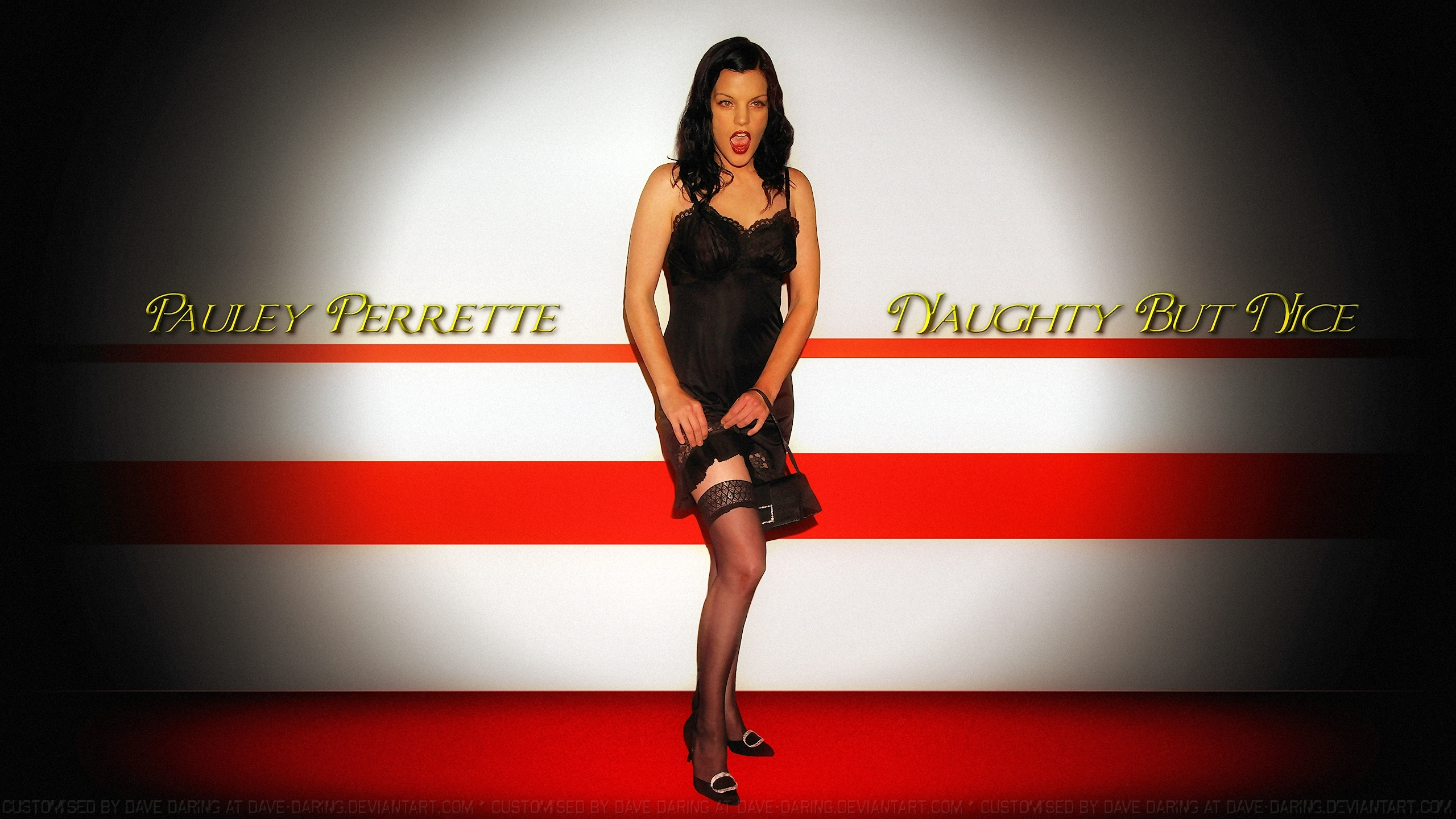 Pauley Perrette Stocking tops by Dave-Daring
