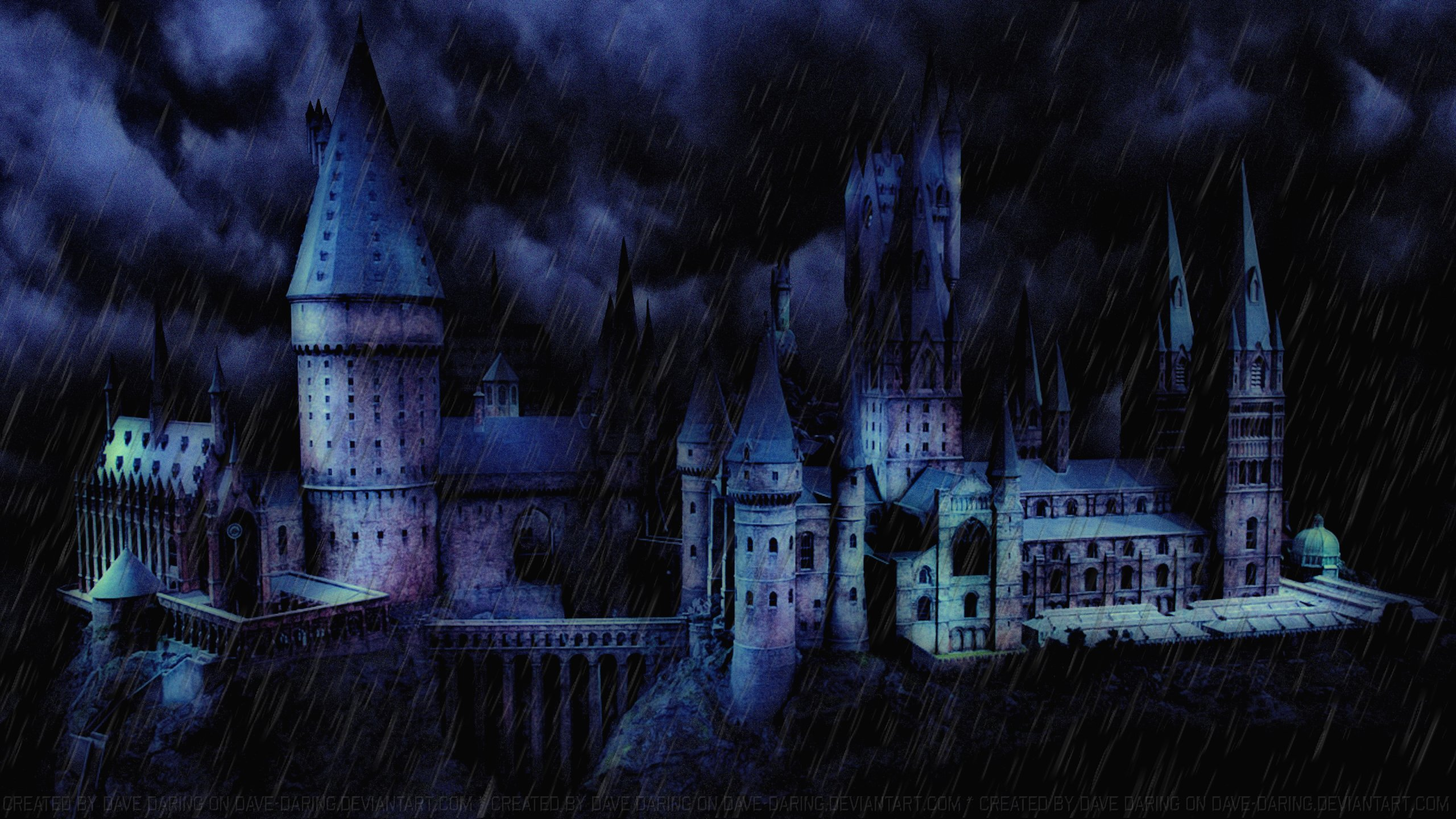 A storm over hogwarts ii by dave daring on deviantart - Hogwarts at night wallpaper ...