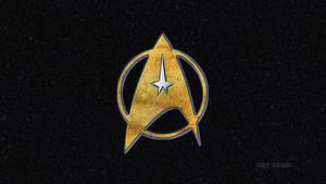 Star trek Symbol in Brass Silver and Black Granite