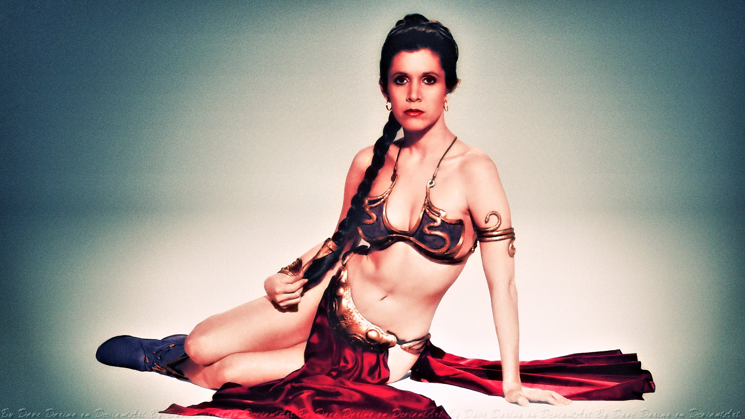 Carrie Fisher Slave Girl Princess VII Colourized by Dave-Daring