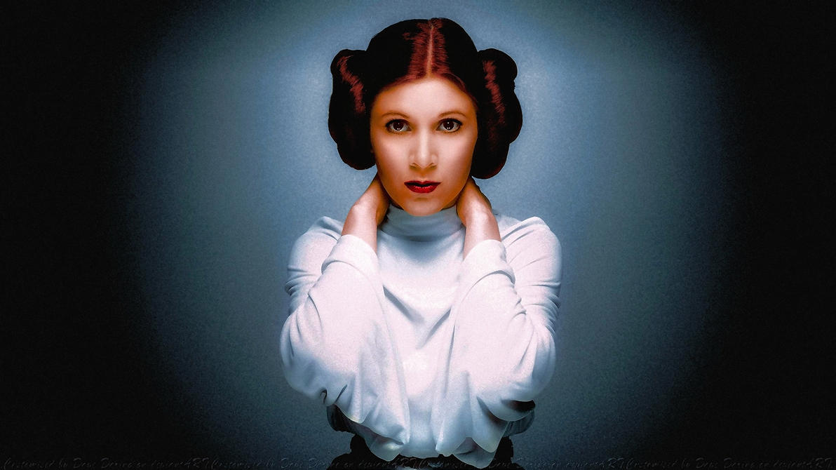 Carrie Fisher Princess Leia Colourise Smile by Dave-Daring