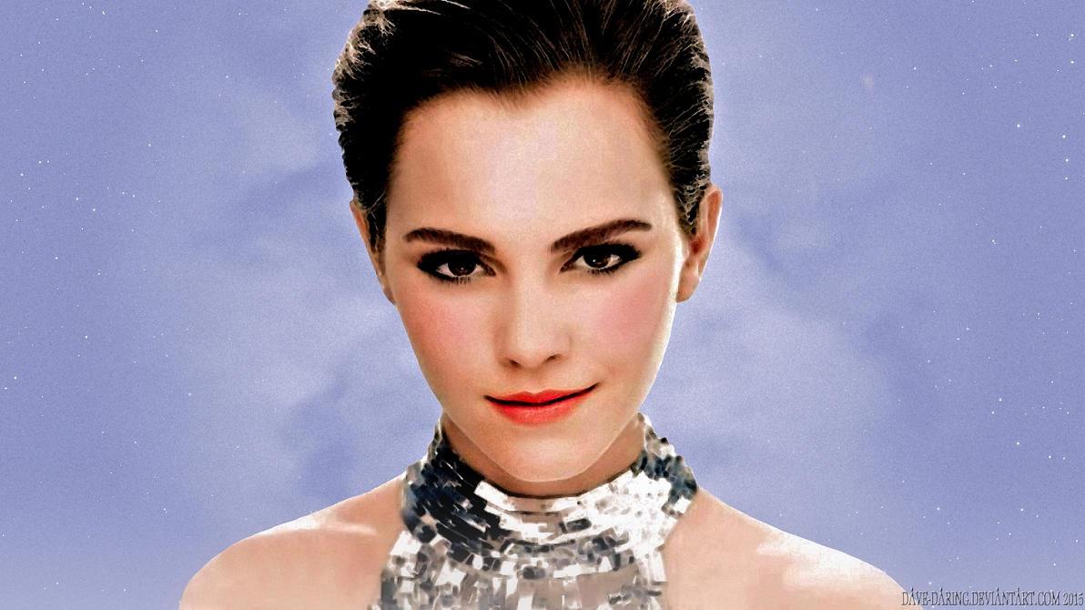 Emma Watson Portrait in Blue by Dave-Daring
