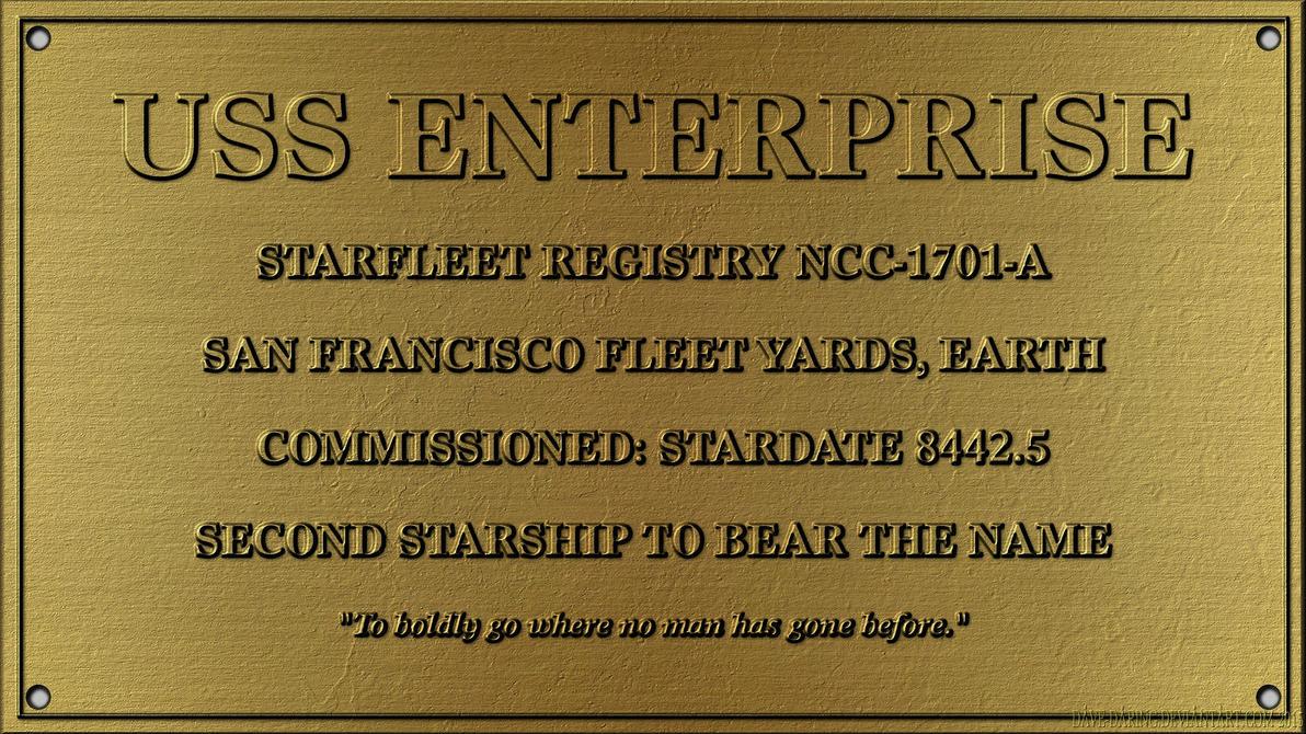 Dedication Plaque Enterprise-A by Dave-Daring