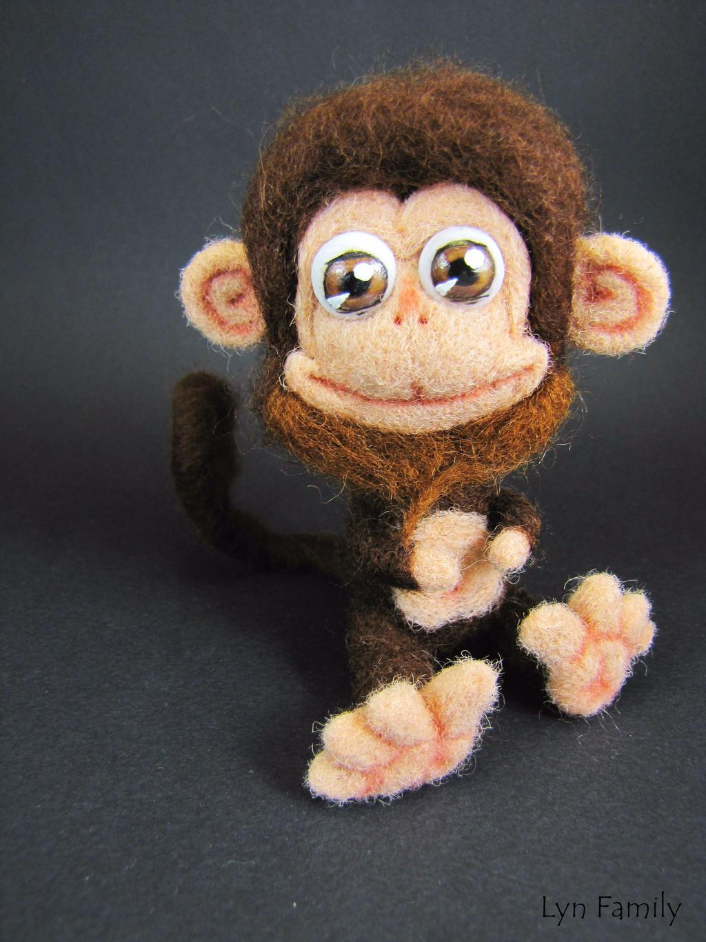 Needle Felted Toy - Funny Monkey