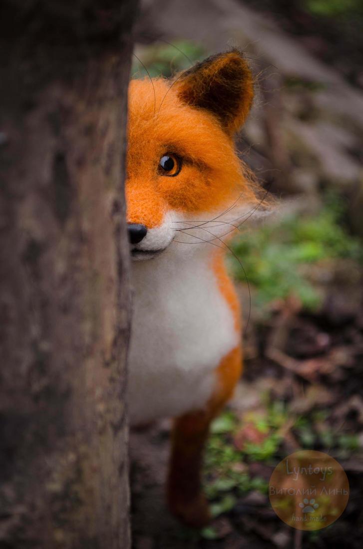 Fox felt sculpture, Fox named Finn by Lyntoys