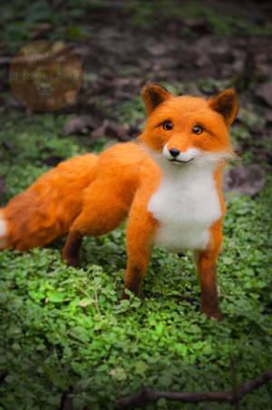 Fox felt sculpture, Fox named Finn 4 by Lyntoys