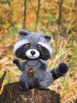 Raccoon Needle Felted Toy