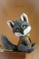 Gentleman wolf art doll needle felted by Lyntoys