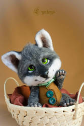 Wolf art doll needle felted by Lyntoys