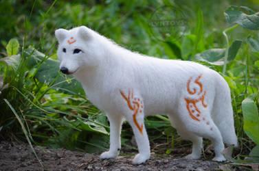 Steppe wanderer white wolf fantasy Doll