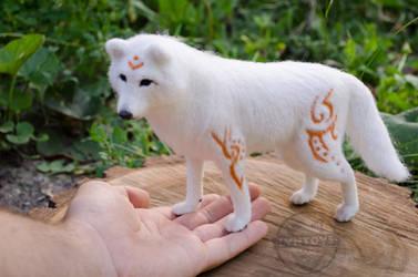 White Wolf Fantasy Art Needle Felted