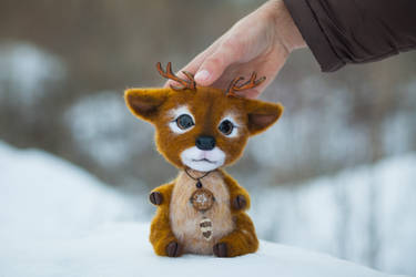 Deer Needle Felted Author Toy