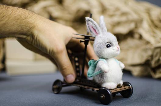Baby bunny Needle felted toy
