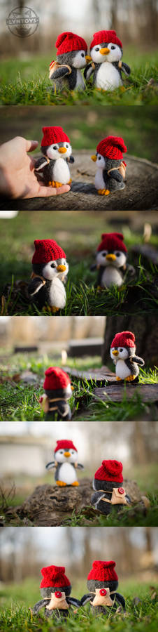 Penguin story needle felted art characters