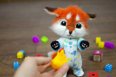 Baby Fox Character Needle Felted Toy