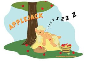 Applejack Sleeping by LeirbagAhcor