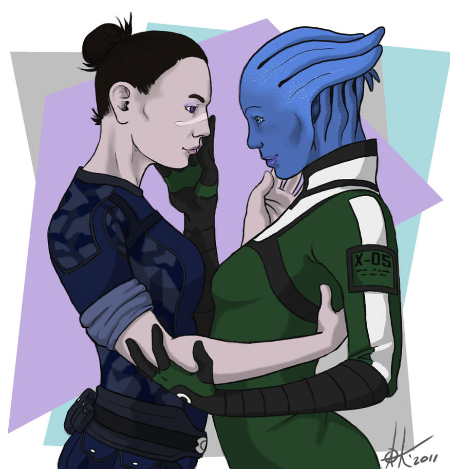 Shepard and Liara by canius