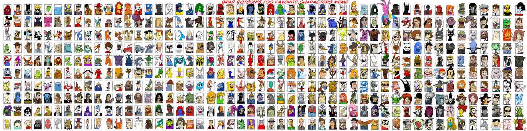 Brad Dotson's 500 Favorite Characters Meme by TheZoologist