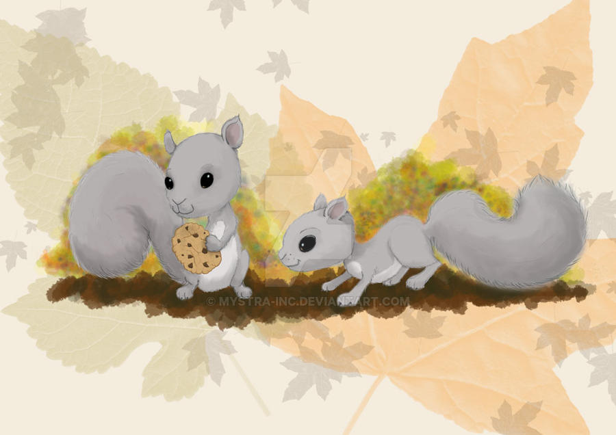 Squirrels and cookies by Mystra-Inc