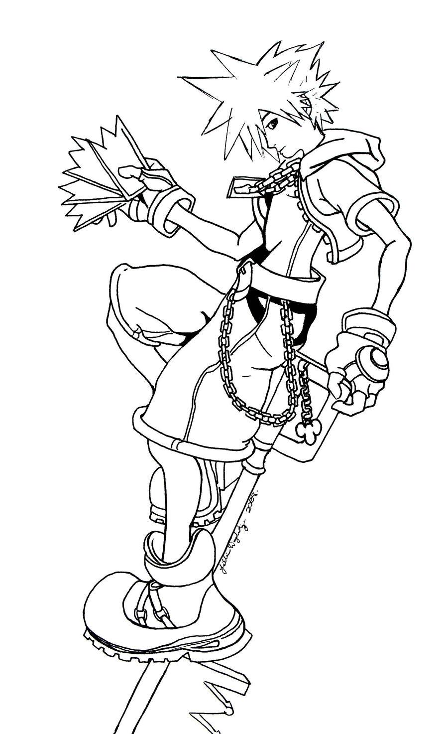 Sora Kingdom Hearts Lineart : Kingdom hearts sora by elodoth on deviantart