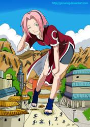 Giantess Ninja Sakura color by giorunog