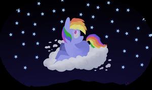 Rainbow Dash on a cloud