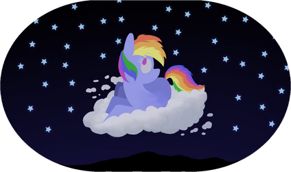 Rainbow Dash on a cloud by paper-pony