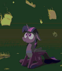 Twilight observes her burning home by paper-pony