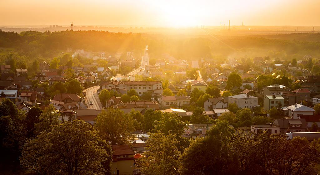 Sunset over village by jacekson