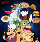 Mario and Bowser Road to Cooking World Tour by sergi1995