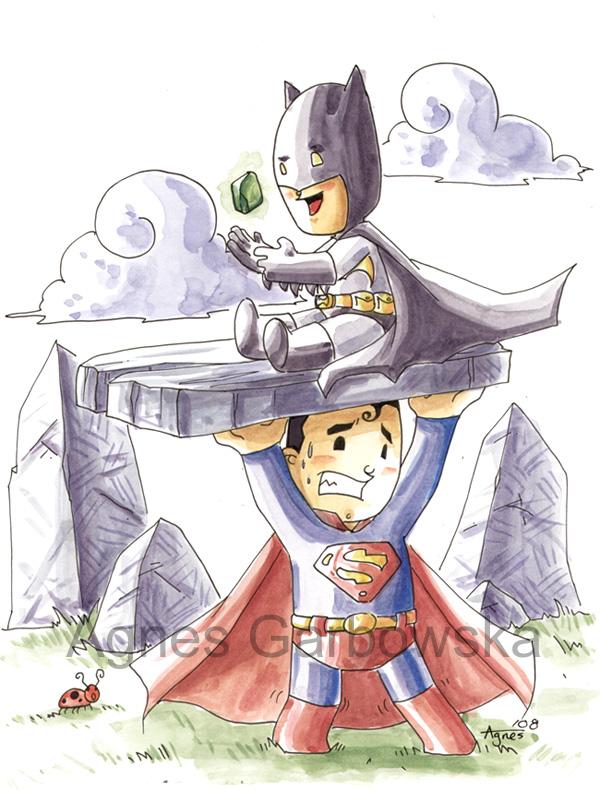 Mini Batmanand Supermanby Evilwabbit