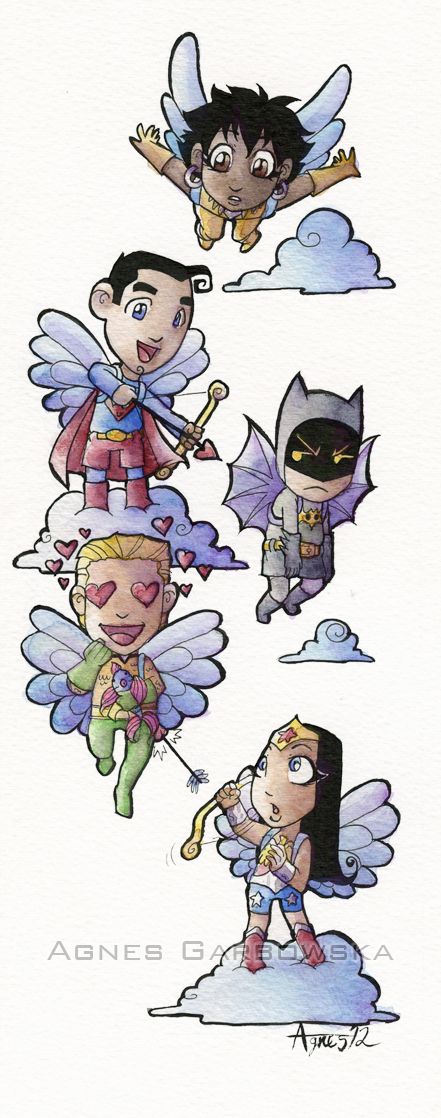 Little JLA Cupids by AgnesGarbowska