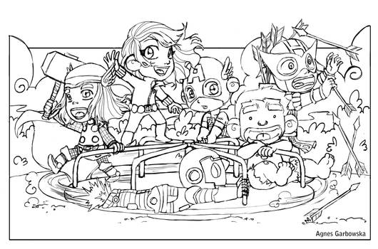 Avengers at the Park pencils