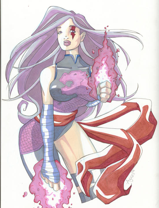 Sexy Psylocke Coloured by AgnesGarbowska