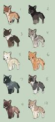 Natural Wolf Chibi Adopts (closed) by UnfortunateCorvid